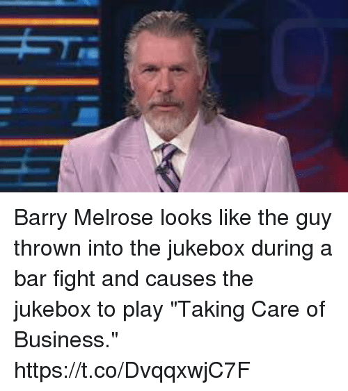 """Sports, Business, and Fight: Barry Melrose looks like the guy thrown into the jukebox during a bar fight and causes the jukebox to play """"Taking Care of Business."""" https://t.co/DvqqxwjC7F"""