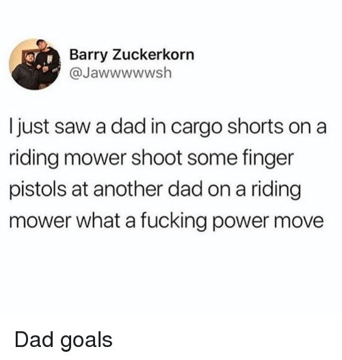 Dad, Dank, and Fucking: Barry Zuckerkorn  @Jawwwwwsh  I just saw a dad in cargo shorts on a  riding mower shoot some finger  pistols at another dad on a riding  mower what a fucking power move Dad goals