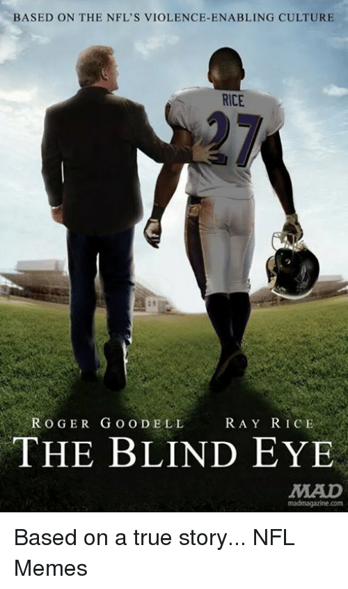 ray rice: BASED ON THE NFL's VIOLENCE-ENABLING CULTURE  RICE  ROGER GOODELL  RAY RICE  THE BLIND EYE  MAUD  madmagazine.com Based on a true story...  NFL Memes