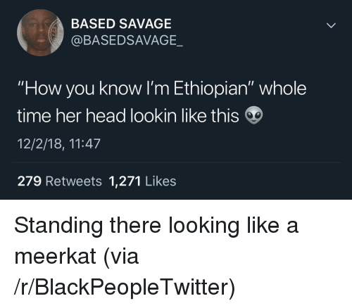 "Ethiopian: BASED SAVAGE  @BASEDSAVAGE._  ""How you know I'm Ethiopian"" whole  time her head lookin like this  12/2/18, 11:47  279 Retweets 1,271 Likes Standing there looking like a meerkat (via /r/BlackPeopleTwitter)"