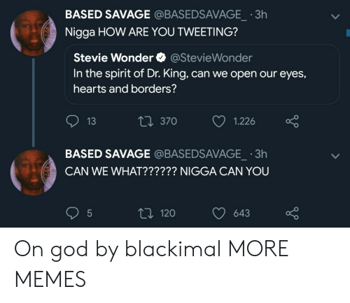 Stevie Wonder: BASED SAVAGE @BASEDSAVAGE  Nigga HOW ARE YOU TWEETING?  3h  Stevie Wonder @StevieWonder  In the spirit of Dr. King, can we open our eyes,  hearts and borders?  13  t 370  1.226  BASED SAVAGE @BASEDSAVAGE 3h  CAN WE WHAT?????? NIGGA CAN YOU  t 120 643 On god by blackimal MORE MEMES