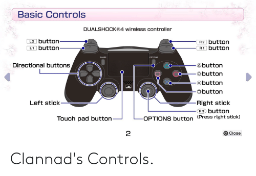 Button Press: Basic Controls  DUALSHOCK®4 wireless controller  L2 button-  L1 button-  R2 button  R1 button  L2  L1  SHARE  OPTIONS  Directional buttons  Abutton  obutton  Obutton  Obutton  Left stick-  Right stick  R3 button  (Press right stick)  Touch pad button  OPTIONS button  O Close Clannad's Controls.