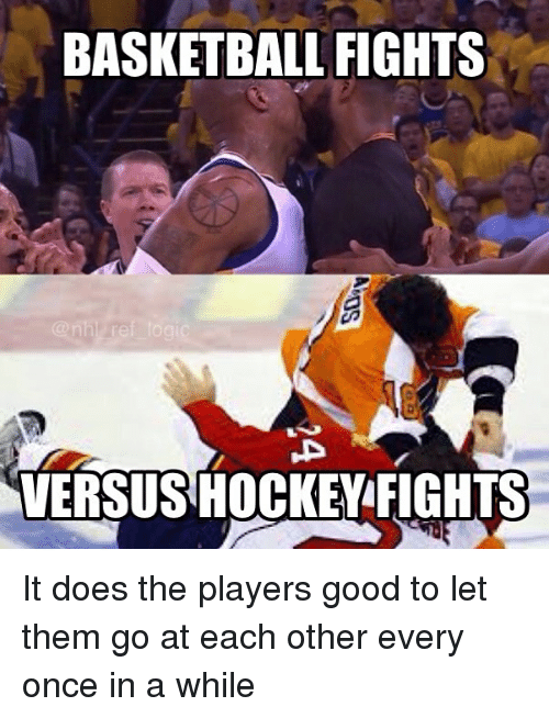 Basketball, Hockey, and Logic: BASKETBALL FIGHTS  @nhl ref logic  VERSUS  HOCKEY FIGHTS It does the players good to let them go at each other every once in a while