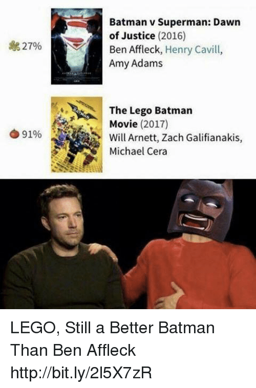 Dank, Michael Cera, and Zach Galifianakis: Batman v Superman: Dawn  of Justice (2016)  27%  Ben Affleck  Henry Cavill  Amy Adams  The Lego Batman  Movie  (2017)  O 91%  Will Arnett, Zach Galifianakis  Michael Cera LEGO, Still a Better Batman Than Ben Affleck http://bit.ly/2l5X7zR