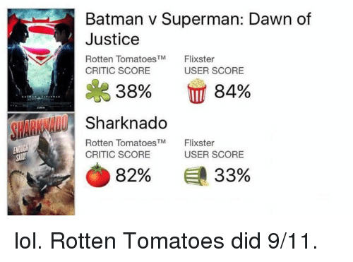 9/11, Batman, and Lol: Batman v Superman: Dawn of  Justice  Rotten Tomatoes  Flixster  TM  CRITIC SCORE  USER SCORE  38% 84%  Sharknado  Rotten TM  Flixster  Tomatoes  USER SCORE  CRITIC SCORE  82%  33% lol. Rotten Tomatoes did 9/11.