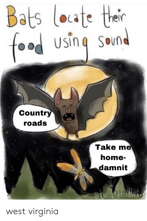 Country Roads: Bats loate thair  food  SOund  Country  roads  Take me  home-  damnit  WIstedeodles west virginia