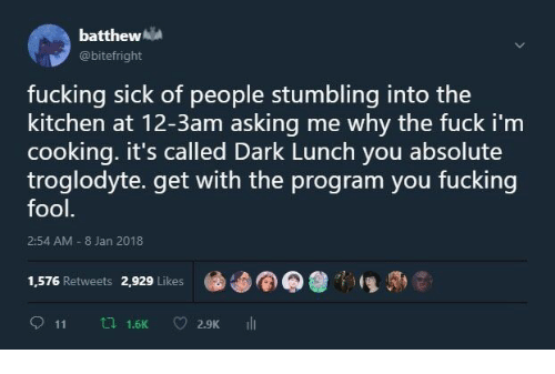 stumbling: batthew  @bitefright  fucking sick of people stumbling into the  kitchen at 12-3am asking me why the fuck i'm  cooking. it's called Dark Lunch you absolute  troglodyte. get with the program you fucking  fool  2:54 AM 8 Jan 2018  1,576 Retweets 2,929 Likes  911 th 1.6K 2.9K