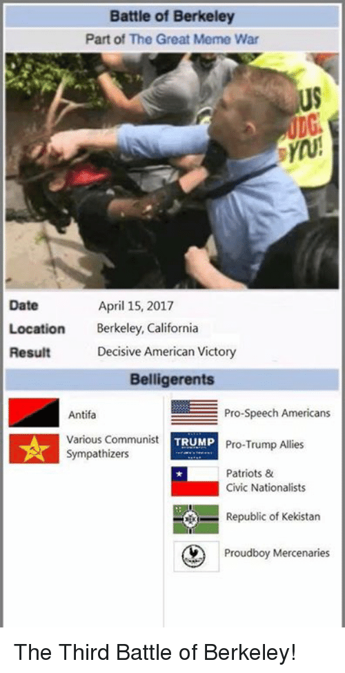 decisive: Battle of Berkeley  Part of The Great Meme War  US  Date  Location Bekley, California  Result  April 15, 2017  Decisive American Victory  Belligerents  Antifa  Various Communist  Sympathizers  Pro-Speech Americans  Pro-Trump Allies  Patriots &  TRUMP  Civic Nationalists  Republic of Kekistan  Prou  Proudboy Mercenaries The Third Battle of Berkeley!