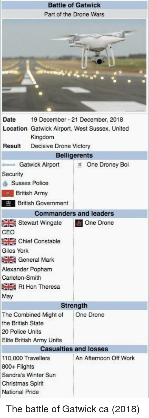 decisive: Battle of Gatwick  Part of the Drone Wars  Date19 December 21 December, 2018  Location Gatwick Airport, West Sussex, United  Kingdom  Decisive Drone Victory  Result  Belligerents  Gatwick Airport  One Droney Boi  Security  Sussex Police  British Army  British Government  Commanders and leaders  Stewart Wingate E One Drone  CEO  Giles York  Alexander Popham  Chief Constable  General Mark  Carleton-Smith  Rt Hon Theresa  May  Strength  The Combined Might of  the British State  20 Police Units  Elite British Army Units  One Drone  Casualties and losses  110,000 Travellers  800+ Flights  Sandra's Winter Sun  Christmas Spirit  National Pride  An Afternoon Off Work The battle of Gatwick ca (2018)
