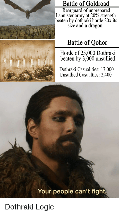 Game of Thrones, Logic, and Army: Battle of Goldroad  Rearguard of unprepared  Lannister army at 20% strength  beaten by dothraki horde 20x its  siže and a dragon.  Battle of Qohor  Horde of 25,000 Dothraki  beaten by 3,000 unsullied.  Dothraki Casualities: 17,000  Unsullied Casualties: 2,400  Your people can't fight. Dothraki Logic