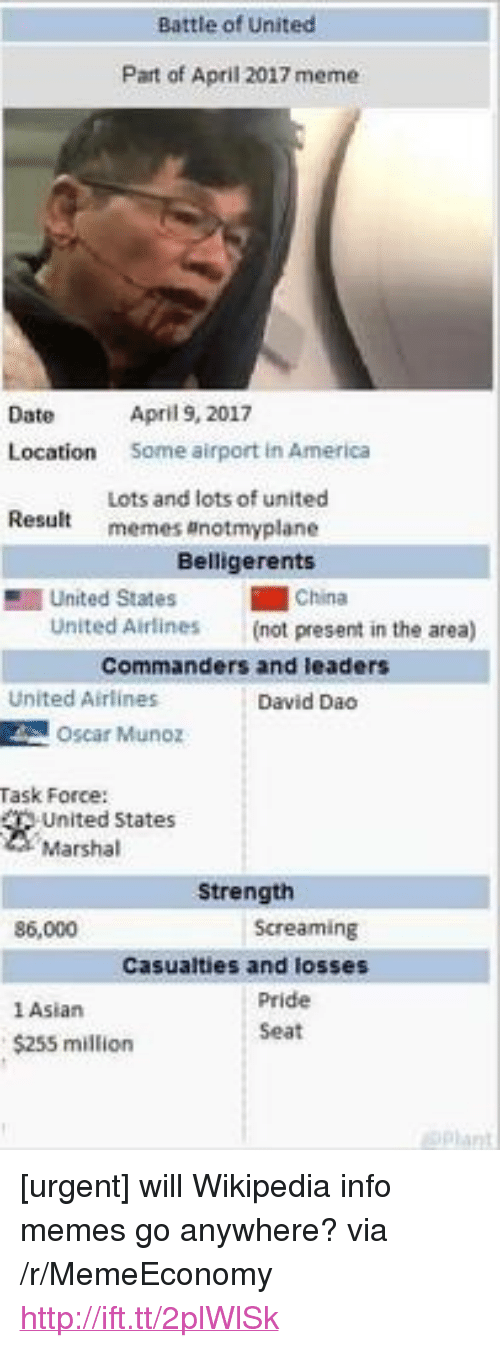 """Marshal: Battle of United  Part of April 2017 meme  April 9, 2017  Some airport in America  Date  Location  Lots and lots of united  memes anotmyplane  Result  Belligerents  1 United States  China  United Airlines  (not present in the area)  Commanders and leaders  United Airlines  David Dao  Oscar Munoz  Task Force:  United States  Marshal  Strength  86,000  Screaming  Casualties and losses  1 Asian  $255 million  Pride  Seat <p>[urgent] will Wikipedia info memes go anywhere? via /r/MemeEconomy <a href=""""http://ift.tt/2plWlSk"""">http://ift.tt/2plWlSk</a></p>"""