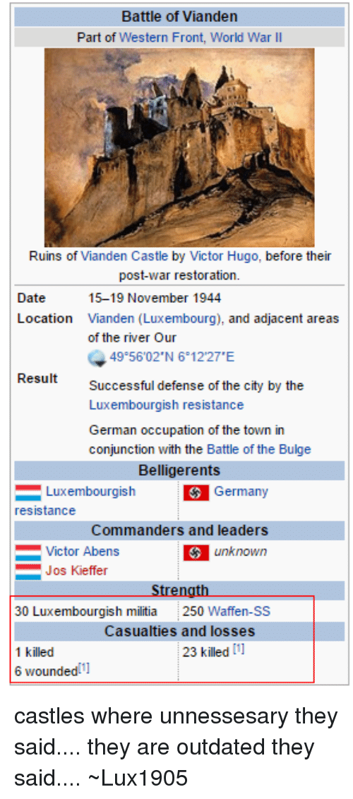 Luxembourgball: Battle of Vianden  Part of Western Front, World War II  Ruins of Vianden Castle by Victor Hugo, before their  post-war restoration.  Date  15-19 November 1944  Location  Vianden (Luxembourg), and adjacent areas  of the river Our  49 5602 N 6 12 27 E  Result  Successful defense of the city by the  Luxembourgish resistance  German occupation of the town in  conjunction with the Battle of the Bulge  Belligerents  Luxembourgish  Germany  resistance  Commanders and leaders  Victor Abens  unknown  Jos Kieffer  Strength  30 Luxembourgish militia 250  Waffen-SS  Casualties and losses  23 killed [1]  1 killed  6 wounded 11 castles where unnessesary they said.... they are outdated they said.... ~Lux1905
