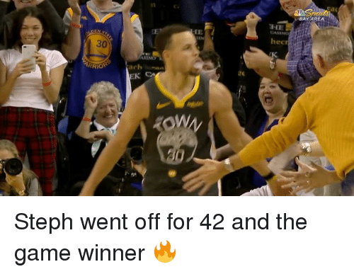Game Winner: BAY AREA  HE  CASENo  IE  hec  30  ASINO  ARRIO  achan Steph went off for 42 and the game winner 🔥