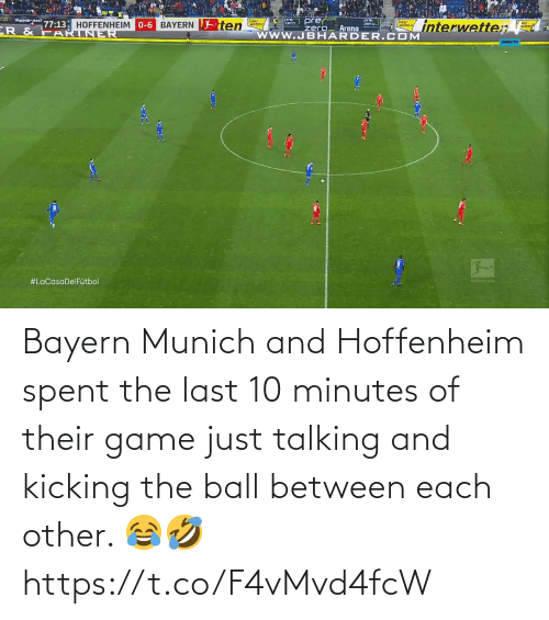 Bayern: Bayern Munich and Hoffenheim spent the last 10 minutes of their game just talking and kicking the ball between each other. 😂🤣 https://t.co/F4vMvd4fcW
