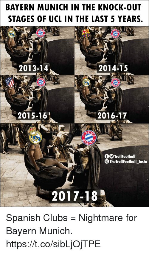 Memes, Spanish, and Bayern: BAYERN MUNICH IN THE KNOCK-OUT  STAGES OF UCL IN THE LAST 5 YEARS.  2013-14  2014-15  AY  2015-16  2016-17  OTrollFootball  TheTrollFootball_Insta  2017-18 Spanish Clubs = Nightmare for Bayern Munich. https://t.co/sibLjOjTPE
