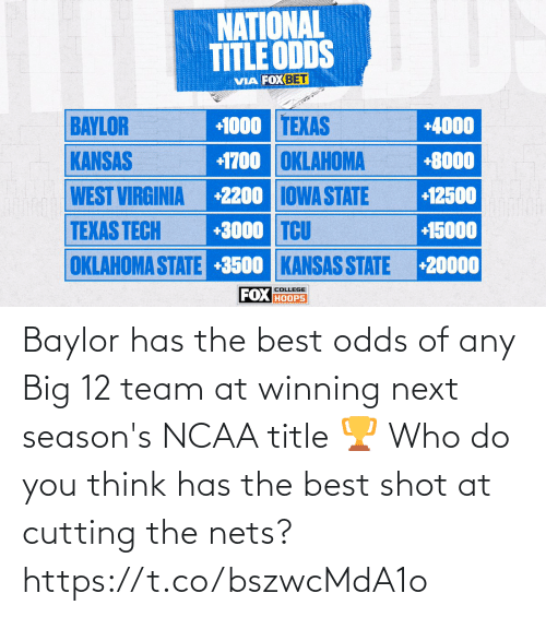 Nets: Baylor has the best odds of any Big 12 team at winning next season's NCAA title 🏆  Who do you think has the best shot at cutting the nets? https://t.co/bszwcMdA1o