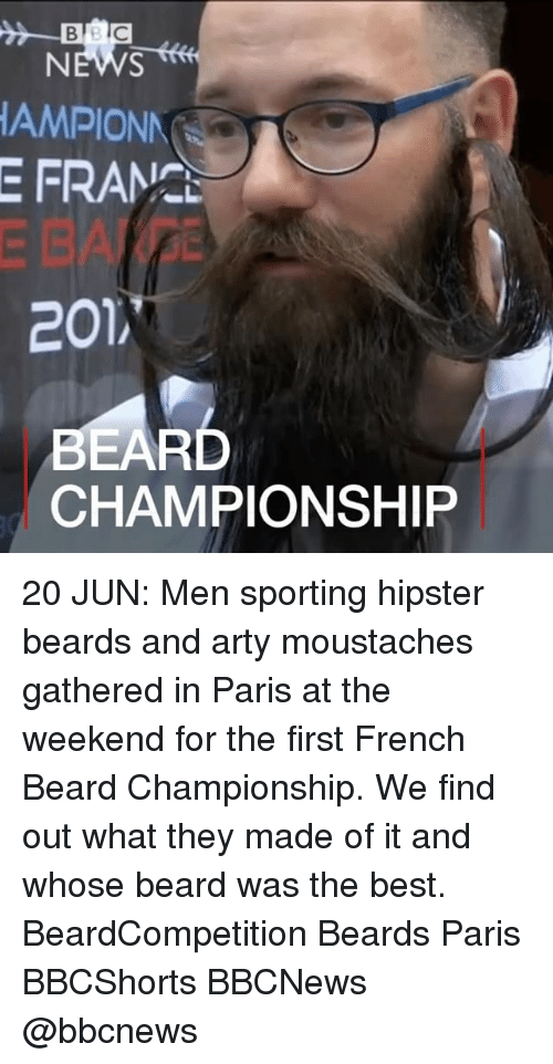 arty: BB  NEWS  AMPIONN  E FRAM.  201,  EARD  CHAMPIONSHIP 20 JUN: Men sporting hipster beards and arty moustaches gathered in Paris at the weekend for the first French Beard Championship. We find out what they made of it and whose beard was the best. BeardCompetition Beards Paris BBCShorts BBCNews @bbcnews