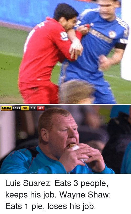 Wayned: BBC 82:23 SUT 0-2 ARS Luis Suarez: Eats 3 people, keeps his job. Wayne Shaw: Eats 1 pie, loses his job.