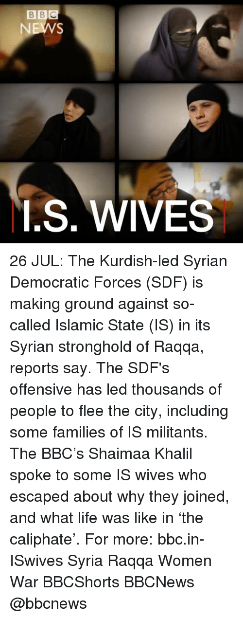 Life, Memes, and Syria: BBC  I.S. WIVES 26 JUL: The Kurdish-led Syrian Democratic Forces (SDF) is making ground against so-called Islamic State (IS) in its Syrian stronghold of Raqqa, reports say. The SDF's offensive has led thousands of people to flee the city, including some families of IS militants. The BBC's Shaimaa Khalil spoke to some IS wives who escaped about why they joined, and what life was like in 'the caliphate'. For more: bbc.in-ISwives Syria Raqqa Women War BBCShorts BBCNews @bbcnews