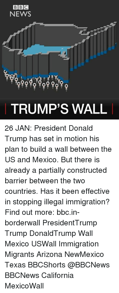 illegible: BBC  NEWS  TRUMP'S WALL 26 JAN: President Donald Trump has set in motion his plan to build a wall between the US and Mexico. But there is already a partially constructed barrier between the two countries. Has it been effective in stopping illegal immigration? Find out more: bbc.in-borderwall PresidentTrump Trump DonaldTrump Wall Mexico USWall Immigration Migrants Arizona NewMexico Texas BBCShorts @BBCNews BBCNews California MexicoWall