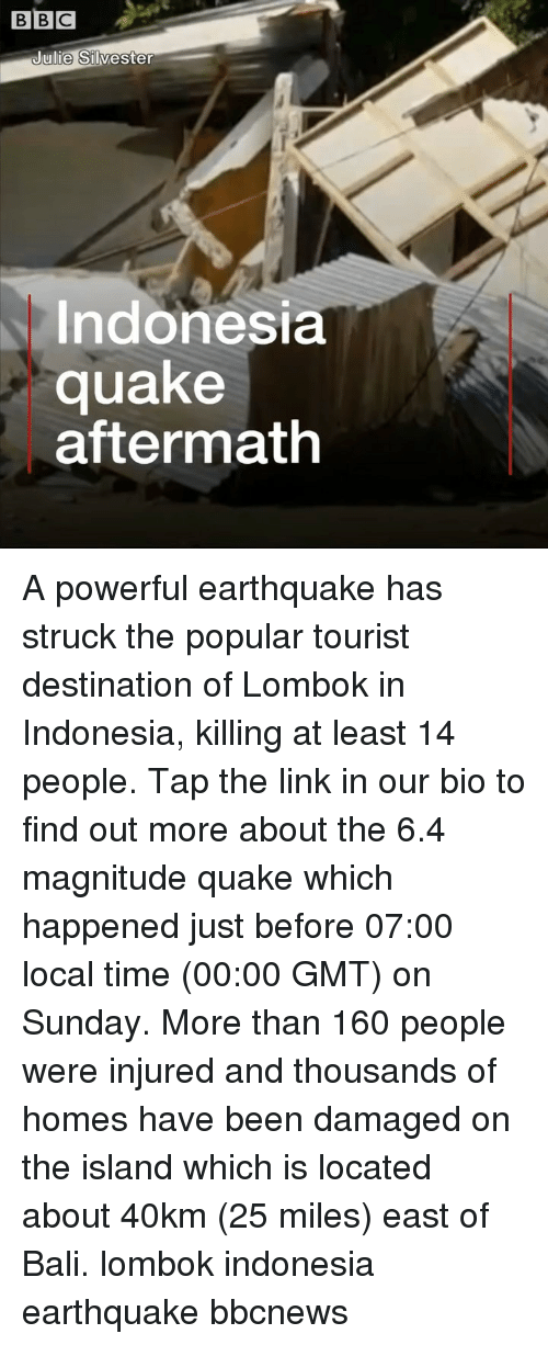 Memes, Bali, and Earthquake: BBC  ulie Silvester  Indonesia  quake  aftermath A powerful earthquake has struck the popular tourist destination of Lombok in Indonesia, killing at least 14 people. Tap the link in our bio to find out more about the 6.4 magnitude quake which happened just before 07:00 local time (00:00 GMT) on Sunday. More than 160 people were injured and thousands of homes have been damaged on the island which is located about 40km (25 miles) east of Bali. lombok indonesia earthquake bbcnews
