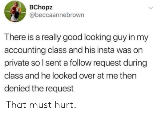 Accounting: BChopz  @beccaannebrown  There is a really good looking guy in my  accounting class and his insta was on  private so I sent a follow request during  class and he looked over at me then  denied the request That must hurt.