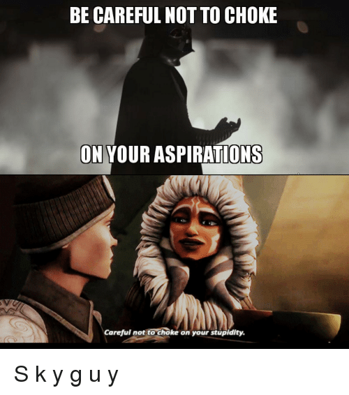 Be Careful Not To Choke On Your Aspirations: BE CAREFUL NOT TO CHOKE  ON YOUR ASPIRATIONS  Careful not to choke on your stupidity.
