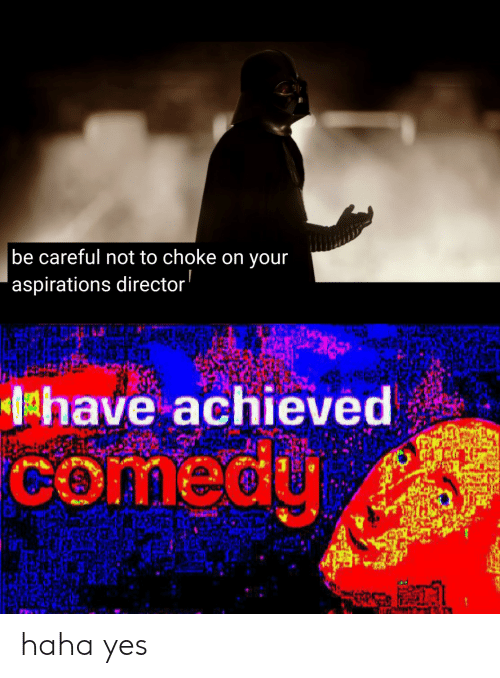 Be Careful Not To Choke On Your Aspirations: be careful not to choke on your  'aspirations director  have achieved  comedy haha yes