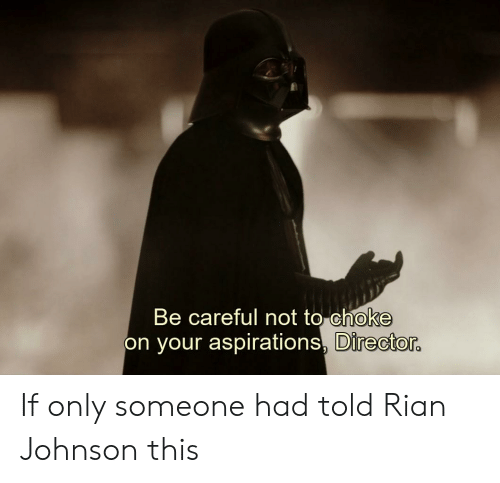 Be Careful Not To Choke On Your Aspirations: Be careful not to choke  on your aspirations,  Director If only someone had told Rian Johnson this