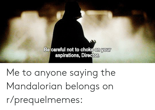 Be Careful Not To Choke On Your Aspirations: Be careful not to choke on your  aspirations, Director Me to anyone saying the Mandalorian belongs on r/prequelmemes: