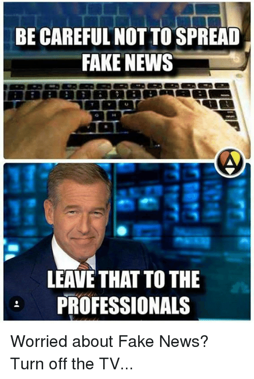 Memes, Be Careful, and 🤖: BE CAREFUL NOT TO SPREAD  FAKE NEWS  LEAVE THAT TOTHE  PROFESSIONALS Worried about Fake News?   Turn off the TV...