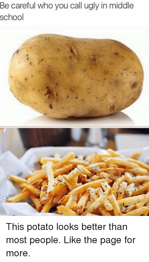 School, Ugly, and Potato: Be careful who you call ugly in middle  school This potato looks better than most people.  Like the page for more.