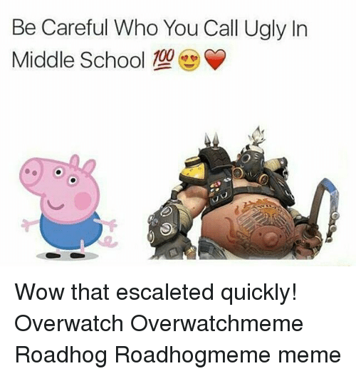 Meme, Memes, and School: Be Careful Who You Call Ugly In  Middle School Wow that escaleted quickly! Overwatch Overwatchmeme Roadhog Roadhogmeme meme