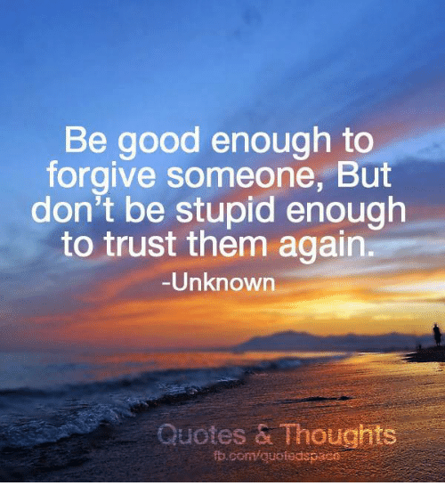 I Will Never Trust Anyone Again Quotes: Be Good Enough To Forgive Someone But Don't Be Stupid