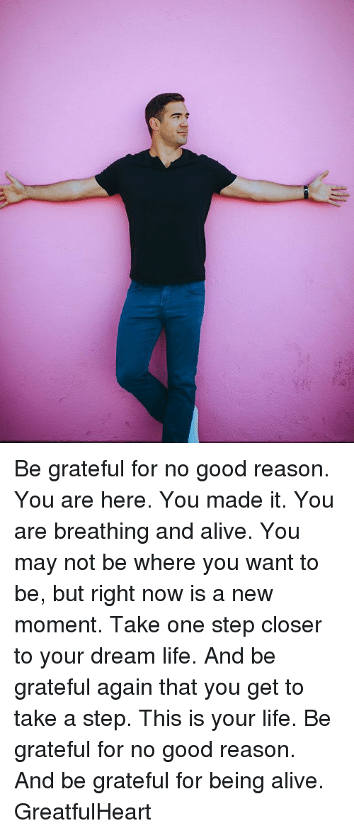 Alive, Life, and Memes: Be grateful for no good reason. You are here. You made it. You are breathing and alive. You may not be where you want to be, but right now is a new moment. Take one step closer to your dream life. And be grateful again that you get to take a step. This is your life. Be grateful for no good reason. And be grateful for being alive. GreatfulHeart