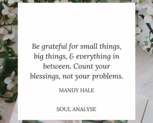 mandy: Be grateful for small things,  big things, & everything in  between. Count your  blessings, not your problems.  MANDY HALE  SOUL ANALYSE