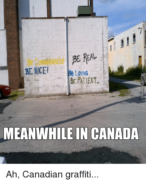 Canadian Graffiti: BE NICE!  Loy ING  BE PATENT  MEANWHILE IN CANADA Ah, Canadian graffiti...