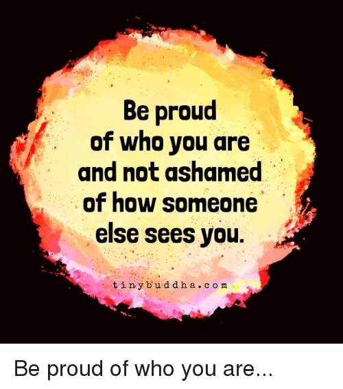 tinie: Be proud  of who you are  and not ashamed  of how someone  else sees you  tiny b u d d h a c o m Be proud of who you are...