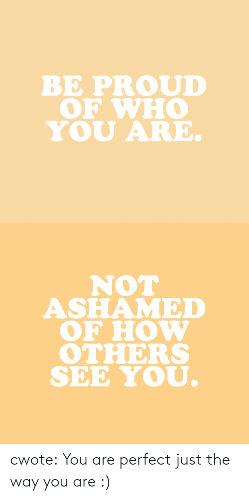 ashamed: BE PROUD  OF WHO  YOU ARE.   NOT  ASHAMED  OF HOW  OTHERS  SEE YOU. cwote:  You are perfect just the way you are :)