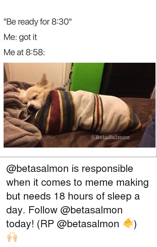 """To Meme: """"Be ready for 8:30""""  Me: got it  Me at 8:58:  @Beta Salmon @betasalmon is responsible when it comes to meme making but needs 18 hours of sleep a day. Follow @betasalmon today! (RP @betasalmon 🐠) 🙌🏼"""