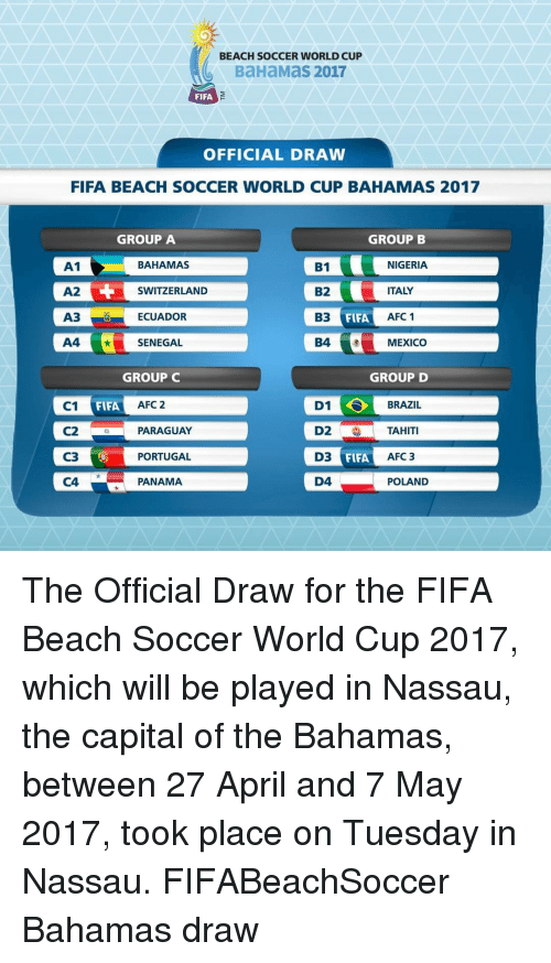 Fifa, Memes, and World Cup: BEACH SOCCER WORLD CUP  BaHaMas 2017  FIFA  OFFICIAL DRAW  FIFA BEACH SOCCER WORLD CUP BAHAMAS 2017  GROUP B  GROUP A  A1  BAHAMAS  NIGERIA  B1  B2  ITALY  A2  SWITZERLAND  A3 ECUADOR  B3  AFC 1  FIFA  A4  SENEGAL  B4  MEXICO  GROUP C  GROUP D  D1 S BRAZIL  FIFA  C1  AFC 2  OD2 TAHITI  C2  PARAGUAY  FIFA C3  D3  PORTUGAL  AFC 3  C4  D4  PANAMA  POLAND The Official Draw for the FIFA Beach Soccer World Cup 2017, which will be played in Nassau, the capital of the Bahamas, between 27 April and 7 May 2017, took place on Tuesday in Nassau. FIFABeachSoccer Bahamas draw