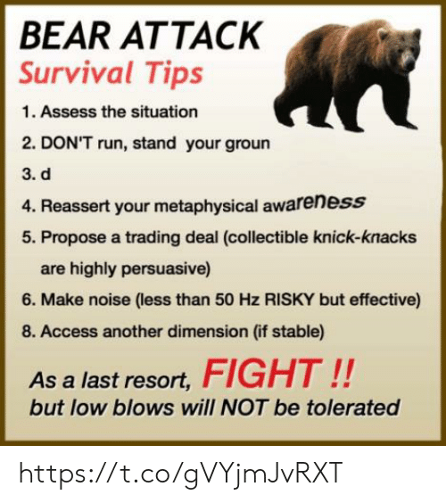 propose: BEAR ATTACK  Survival Tips  1. Assess the situation  2. DON'T run, stand your groun  3. d  4. Reassert your metaphysical awareness  5. Propose a trading deal (collectible knick-knacks  are highly persuasive)  6. Make noise (less than 50 Hz RISKY but effective)  8. Access another dimension (if stable)  As a last resort,FIGHT!!  but low blows will NOT be tolerated https://t.co/gVYjmJvRXT