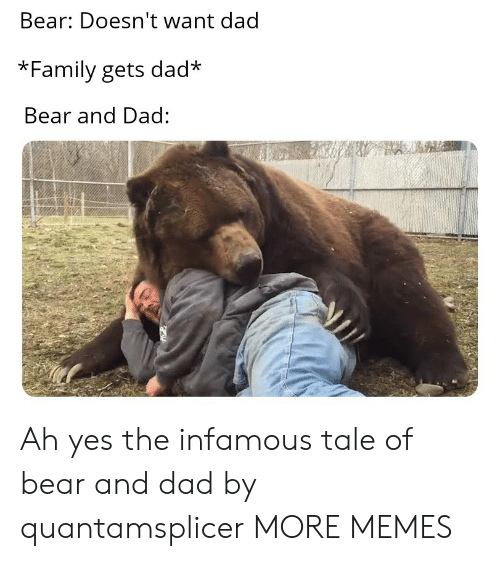 Infamous: Bear: Doesn't want dad  *Family gets dad  Bear and Dad: Ah yes the infamous tale of bear and dad by quantamsplicer MORE MEMES