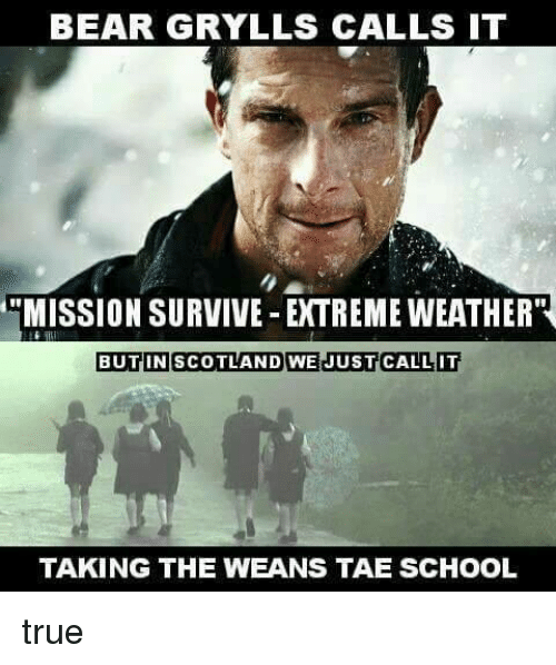 wean: BEAR GRYLLS CALLS IT  MISSION SURVIVE EXTREME WEATHER''  BUTIN SCOTLAND WE JUST CALL IT  TAKING THE WEANS TAE SCHOOL true