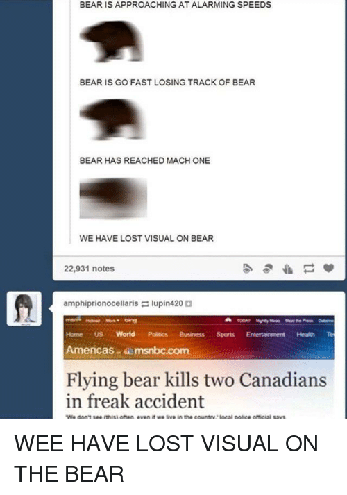 Alarming: BEAR IS APPROACHING AT ALARMING SPEEDS  BEAR IS GO FAST LOSING TRACK OF BEAR  BEAR HAS REACHED MACH ONE  WE HAVE LOST VISUAL ON BEAR  22,931 notes  amphiprionocellaris lupin420  Home US World Politics BusinessSports Entertainment Health Te  Americas msnbc.com  Flying bear kills two Canadians  in freak accident WEE HAVE LOST VISUAL ON THE BEAR