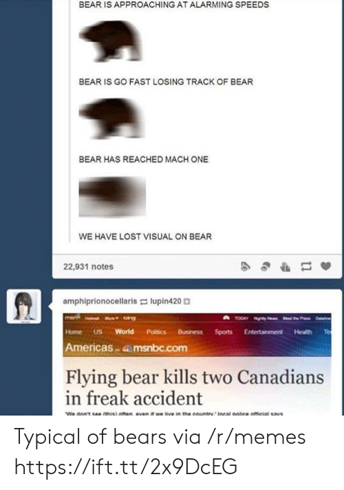 Alarming: BEAR IS APPROACHING AT ALARMING SPEEDS  BEAR IS GO FAST LOSING TRACK OF BEAR  BEAR HAS REACHED MACH ONE  WE HAVE LOST VISUAL ON BEAR  22,931 notes  amphiprionocellaris lupin420  Home US World Politics BusinessSports Entertainment Health Te  Americas msnbc.com  Flying bear kills two Canadians  in freak accident Typical of bears via /r/memes https://ift.tt/2x9DcEG