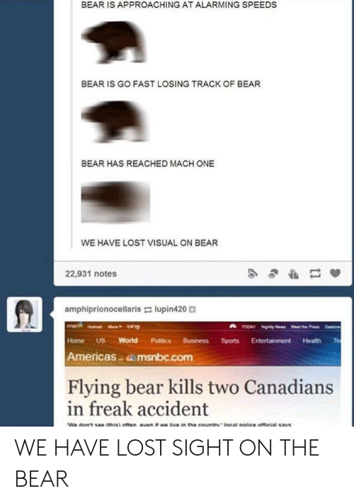 Alarming: BEAR IS APPROACHING AT ALARMING SPEEDS  BEAR IS GO FAST LOSING TRACK OF BEAR  BEAR HAS REACHED MACH ONE  WE HAVE LOST VISUAL ON BEAR  22,931 notes  amphiprionocellaris-: lupin420。  HomeUS World Politics BusinessSports Entertainment Health Te  Americas dmsnbc.com  Flying bear kills two Canadians  in freak accident WE HAVE LOST SIGHT ON THE BEAR