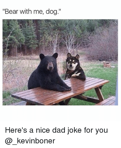 """Dads Jokes: """"Bear with me, dog."""" Here's a nice dad joke for you @_kevinboner"""