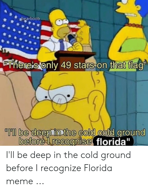 "Florida Meme: bearboob  be deep inthe colo cold around  befoe recognise florida"" I'll be deep in the cold ground before I recognize Florida meme ..."