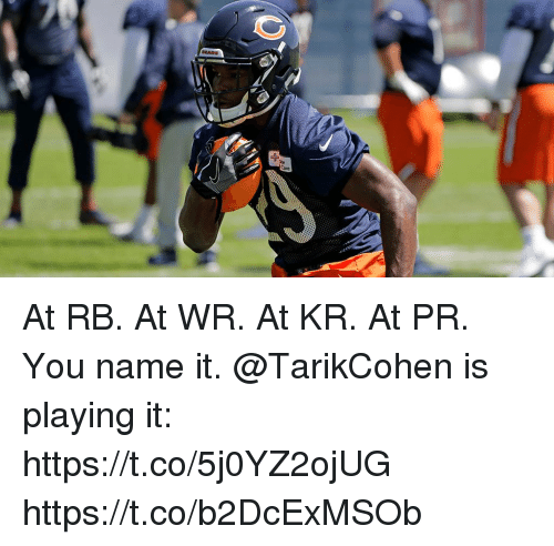 Memes, Bears, and 🤖: BEARS  are At RB. At WR. At KR. At PR.  You name it. @TarikCohen is playing it: https://t.co/5j0YZ2ojUG https://t.co/b2DcExMSOb
